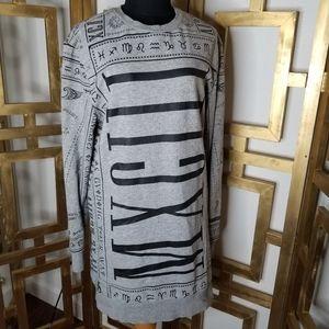 Gray Black Egyptian Hieroglyphic Sweater Dress S